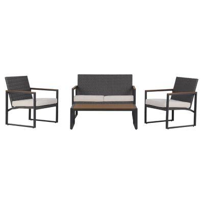 Juego de exterior Portugal mesa + 3 sillas de ratán PE y aluminio