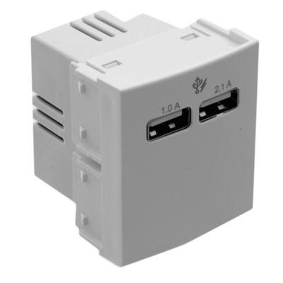 Modulo de 2 toma USB 220 v 2,1 A blanco