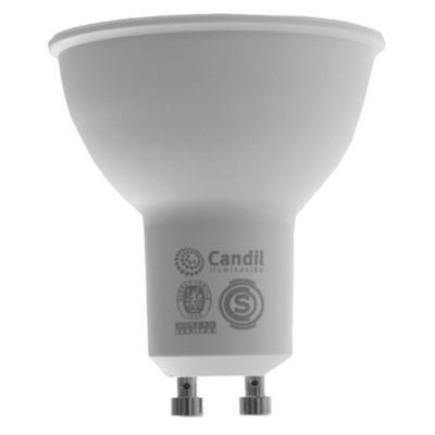 Lámpara dicroica LED GU 10 7 w cálida ángulo abierto