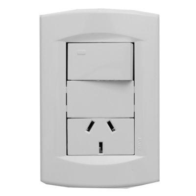 Armado Life 1 interruptor + toma blanco puro