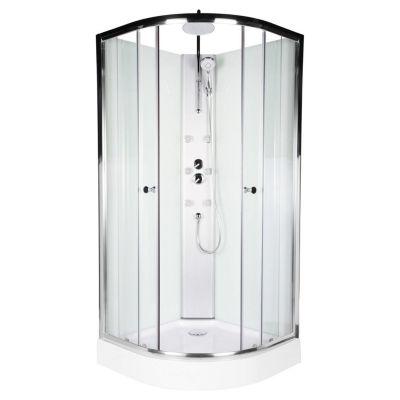 Cabina de ducha curva 90 x 90 cm con columna