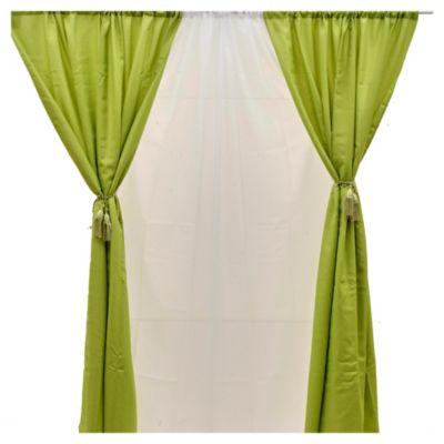 Set de cortinas de tela verde 145 x 220 cm 6 piezas