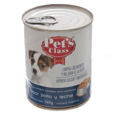 Lata de comida para perros pollo y leche x 340 g