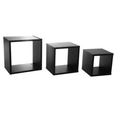 Estante de melamina cubo triple negro 30 x 30 x 1,5 cm
