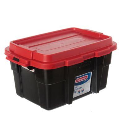 Caja plástica Duraforte negro con rojo 15 l