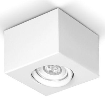 Plafón cuadrado móvil 10x10 cm 1 luz GU10 Blanco