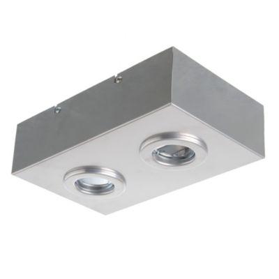 Plafón rectangular 2 luces GU10 17x28 cm Plata