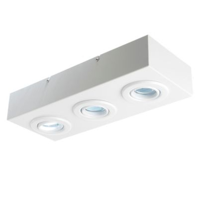 Plafón rectangular 3 luces GU10 17x43 cm Blanco