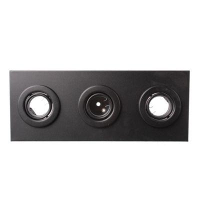 Plafón rectangular 3 luces GU10 17x43 cm Negro