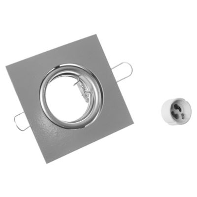 Spot de embutir cuadrado regulable 1 luz E27 Plata