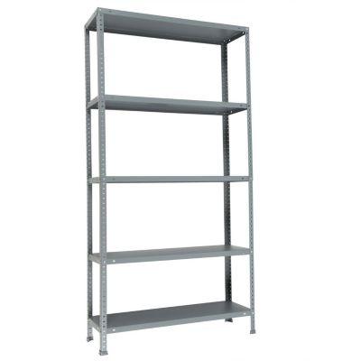 Estantería de metal gris con 5 estantes