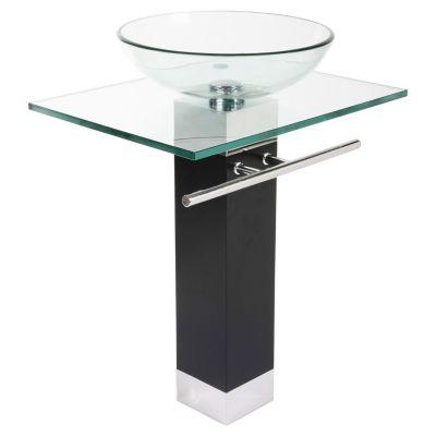 Lavamanos cristal de acero inoxidable con bacha de vidrio