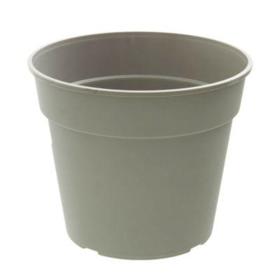 Maceta circular de plástico gris