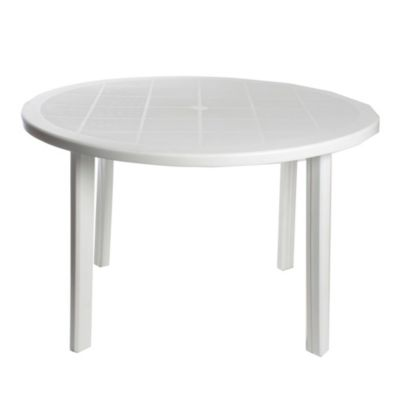 Mesa de exterior redonda Nascar 120 cm blanca