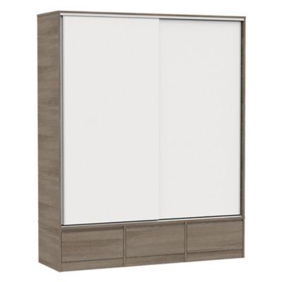 Placard 2 puertas con 3 cajones blanco y gris