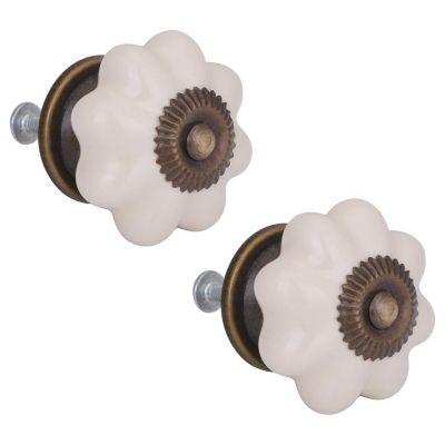 Tirador de porcelana 40 mm gajos crema x2