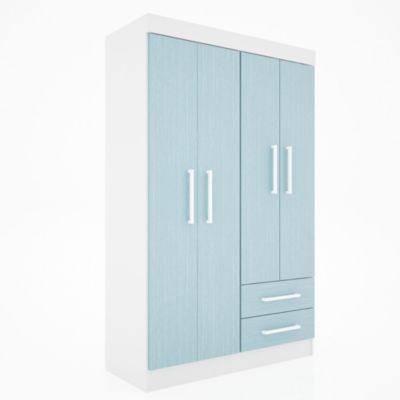 Placard 4 puertas con 2 cajones juvenil celeste