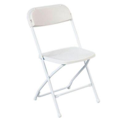 Silla metal plegable respaldo recto blanca