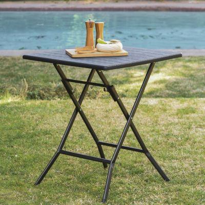 Mesa de exterior plegable cuadrada simil madera 62 negra