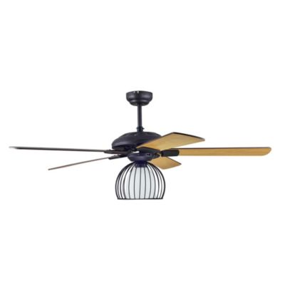 Ventilador de techo Olle 5 aspas 1 lámpara café