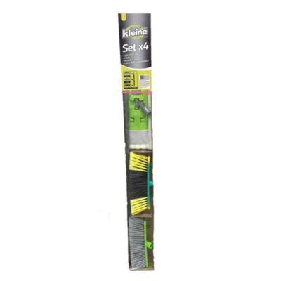 Set de escobillón, cepillo, mopa plana y palo intercambiable