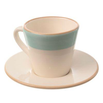 Taza café con plato de cerámica celeste