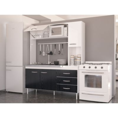 Cocina compacta New Moscú blanco fresno negro