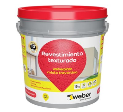 Revestimiento texturado Weberplast RTM piedra paris 15 kg