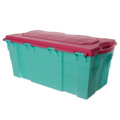 Baúl organizador 100 L verde agua y rojo