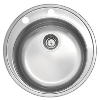 Bacha de sobreponer redonda 48 cm con mezcladora monocomando, válvula y dispensadora de jabón
