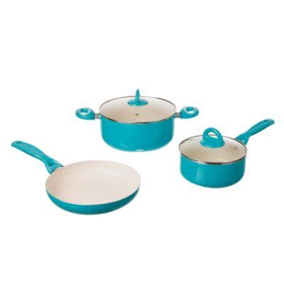 Batería de cocina ceramica antiadherente 5 piezas aqua