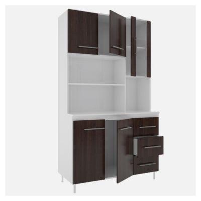 Cocina modular kit triple 5 puertas 3 cajones Blanco y wengue
