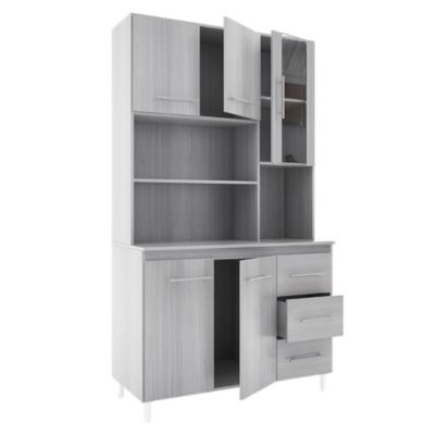 Cocina modular kit triple 5 puertas 3 cajones Jacarandá