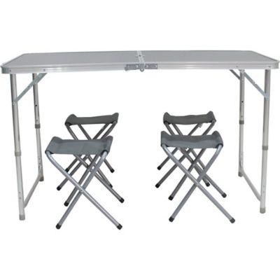 Set mesa de camping plegable con 4 banquitos
