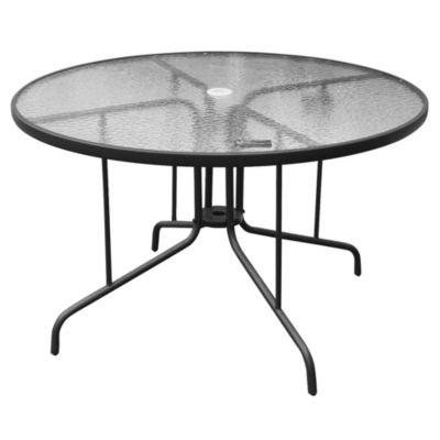 Mesa de exterior redonda 120 cm de acero y vidrio templado chocolate