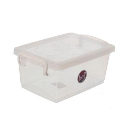 Caja plástica organizadora con trabas 1.5 l transparente