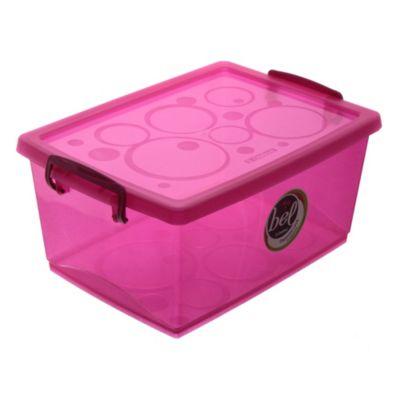 Caja plástica organizadora con trabas 4 l rosa