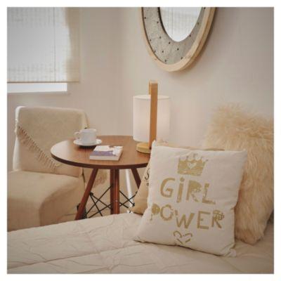 Almohadón decorativo 40 x 40 cm girl power dorado