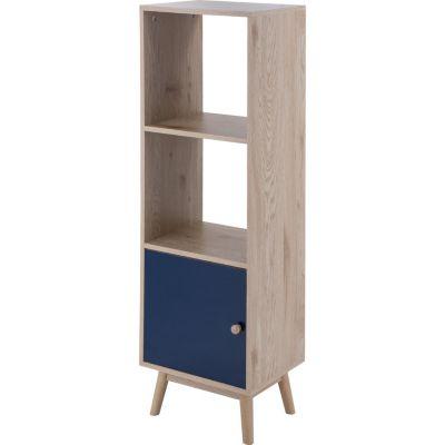 Biblioteca con 2 estantes 1 puerta azul