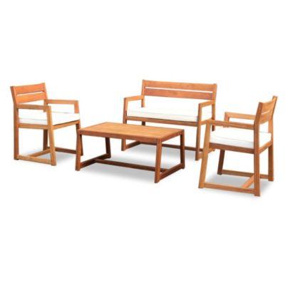 Juego de exterior Trento mesa + 3 sillones