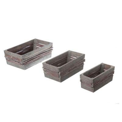 Set x 3 recipientes madera