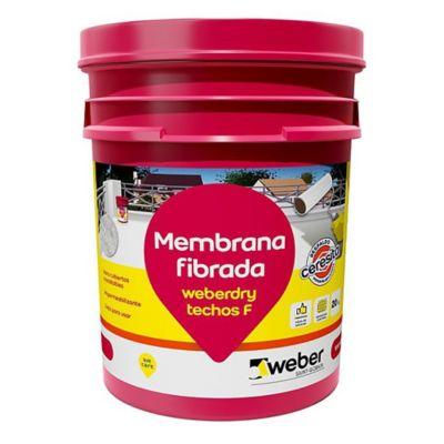 Membrana fibrada para techos Weberdry blanco 4 kg
