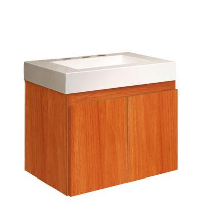 Vanitory Niza de colgar 60 cm 2 puertas miel con mesada 3 agujeros