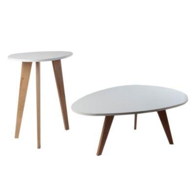 Set mesas ratonas ovales blancas x 2