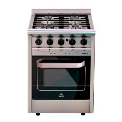 Cocina industrial a gas forza 600 con visor 60 cm 4 hornallas acero