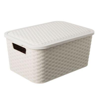 Caja simil ratán 15 l blanca
