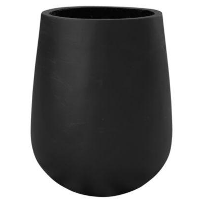 Maceta circular de cemento negra