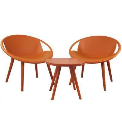 Juego de exterior mesa + sillas naranja