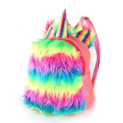 "Mochila arcoiris unicornio 10"""