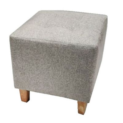 Banqueta cubo de lino gris